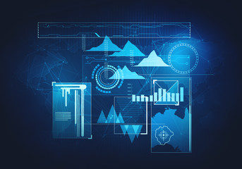 Abstract future, concept business technology futuristic blue virtual graphic touch screen user interface HUD
