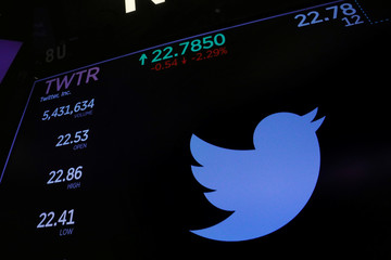 The Twitter logo and stock prices are shown above the floor of the New York Stock Exchange shortly after the opening bell in New York