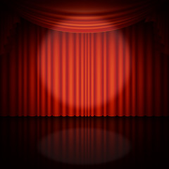 Spotlight on stage and red curtain. EPS 10 vector