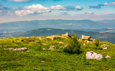 edge of the mountain hill with boulders. lovely summertime scenery