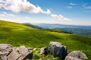 grassy slopes with huge rocks. beautiful mountainous landscape in summertime. location mountain Runa, TransCarpathian region of Ukraine