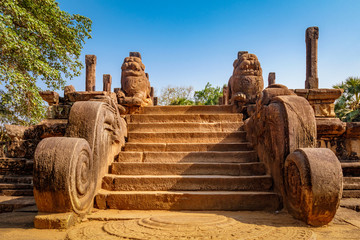 The stairs to the Audience Hall, Ancient ruins Sri Lanka, Unesco ancient city Polonnaruwa, Sri Lanka
