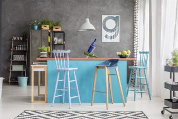 Modern kitchen island in apartment