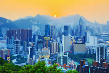 Amazing view on Hong Kong city skyline and the Victoria peak at the sunset, China
