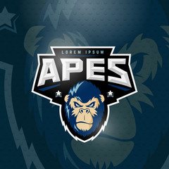 Sport Apes Abstract Vector Sign, Emblem or Logo Template. Sport Team Mascot Label. Angry Gorilla Face with Typography. On Dark Background.