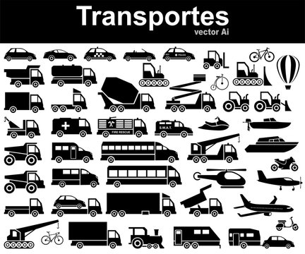 Siluetas de distintos vehiculos de transporte