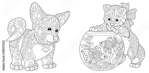 Coloring Page Adult Coloring Book Cardigan Welsh Corgi Dog Cat
