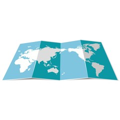 Blue folded world map for travel. Vector illustration