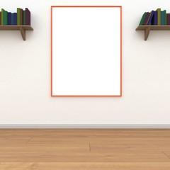 Mock up white poster room 3D rendering