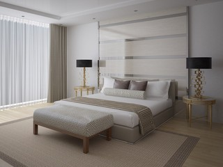 Modern comfortable bedroom with a large stylish bed and a white background.