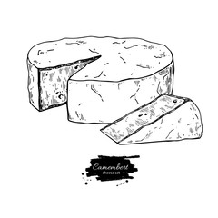 Camembert cheese block and triangle drawing. Vector hand drawn food sketch.