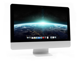 Modern computer screen on white background 3D rendering