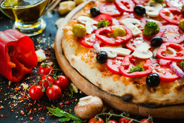 primavera pizza background. Healthy vegetable ingredients. Delicious traditional italian food concept