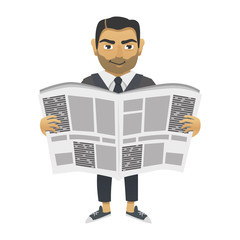 man reading a newspaper. isolated object. vector illustration