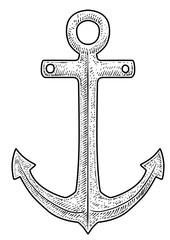 Anchor illustration, drawing, engraving, ink, line art, vector