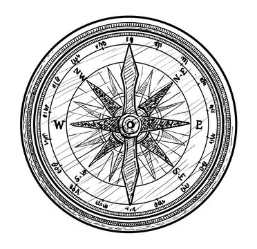 Compass illustration, drawing, engraving, ink, line art, vector