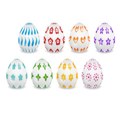 Set of the white eggs with patterns for Easter greeting