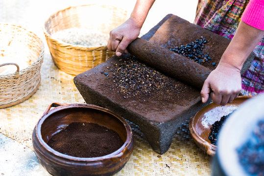 Traditional Coffee Grinding - Guatemala