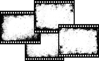 four grunge film frames with transparent space insert