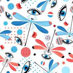 Seamless bright dragonfly pattern and eyes