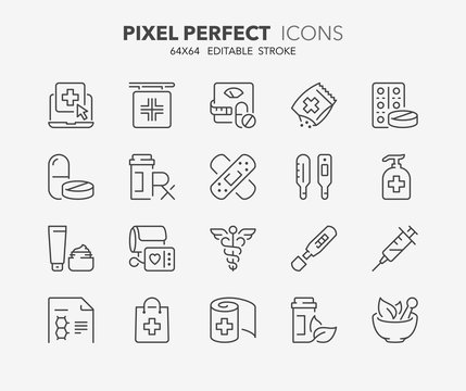 pharmacy thin line icons
