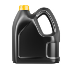 Black plastic canister with engine oil. Front view.