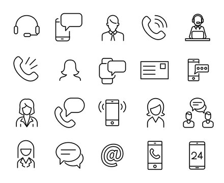 Simple collection of personal service related line icons.
