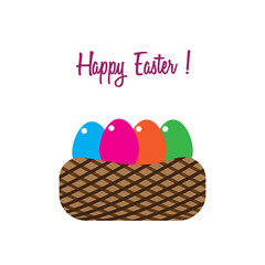Happy Easter with in an eggs basket. Vector illustration. Free Royalty Images.