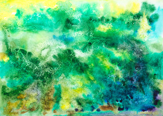 Abstract artistic watercolor green yellow blue background. Looks like bird's view of earth.