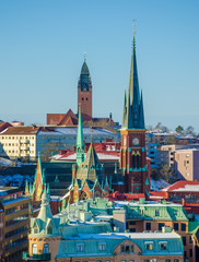 View over colorful churches and roofs of Gothenburg during Winter