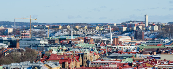 Gothenburg - view over the city's colorful roofs with popular Ullevi stadium during winter