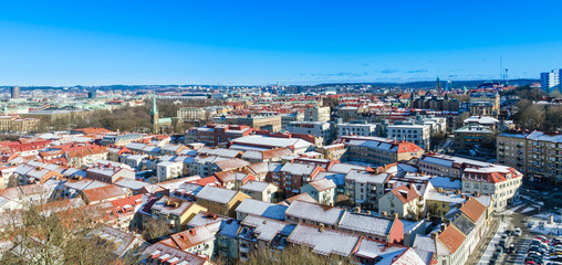 View over Gothenburg with historical Haga district during winter