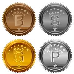 Bronze Silver Gold Platinum Award Coins