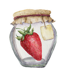 Watercolor glass jar for jam with label for an inscription and strawberry. Illustration isolated on white background. For design, textile and background.