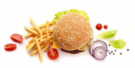 burger and fried potatoes