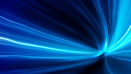 Wall Mural - Acceleration speed motion on night road. Light and stripes moving fast over dark background. Abstract colorful Illustration.