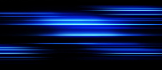 Acceleration speed motion on night road. Light and stripes moving fast over dark background. Abstract blue Illustration. Wall mural