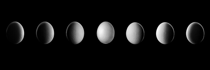 Moon Phase show by Egg in night with shadow Planet