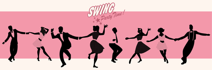 Fototapete - Swing Party Time: Silhouettes of four young couples wearing retro clothes dancing swing or lindy hop