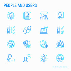 People and users thin line icons set: management, communication, human resouses, teamwork, candidate. Modern vector illustration.
