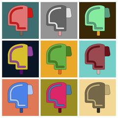 Set of Icons in flat design Ski helmet