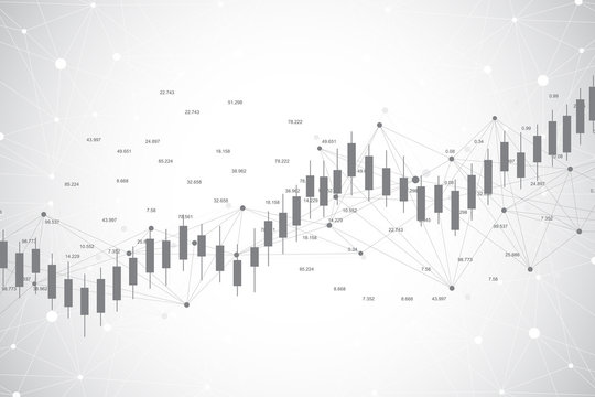 Business candle stick graph chart of stock market investment trading ackground design. Stock market chart. Bullish point, Trend of graph. Vector illustration.