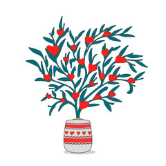 Valentine tree with red hearts isolated on white background. Beautiful love plant. Vector illustration.