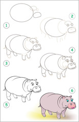 Page shows how to learn step by step to draw a smiling hippo. Developing children skills for drawing and coloring. Vector image.