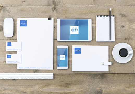 Multiple Devices and Stationery Mockup on Wooden Table 3