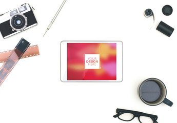 Top View Tablet Mockup with Film Photography Elements 1