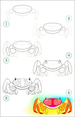 Page shows how to learn step by step to draw a little crab. Developing children skills for drawing and coloring. Vector image.