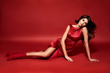 Vogue style portrait of a sensual brunette lady