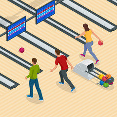 Isometric Bowling Center Interior with Game Equipment. Vector Bowling Alley for Game and Party.