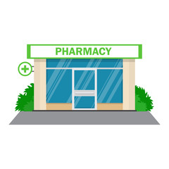 Facade pharmacy store with a signboard
